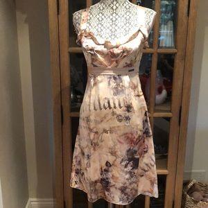 Y2K John Galliano newspaper print silk dress 40